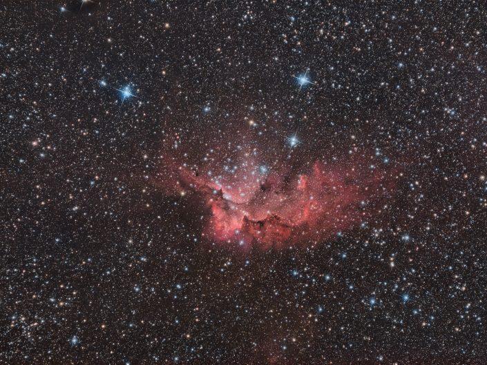 Nella costellazione del Cefeo, a quasi 12.000 anni luce da qui, attraversando quindi 1/8 della nostra galassia, arriverete alla nebulosa Mago (NGC7380). Scatti da 8 minuti con ZWO Astronomy Cameras ASI 294 Pro, l'inseparabile L-pro Optolong Astronomy Filter, tutto su Sky-Watcher 200/800 f4 con correttore e montatura AZEQ6-GT.