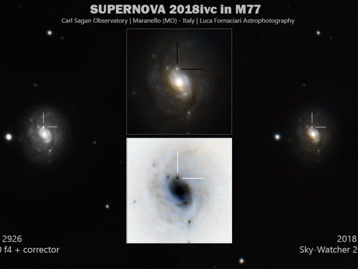 supernova 2018ivc nella galassia M77. Scatti singoli di 0.69 secondi per un totale di circa 40 minuti di segnale
