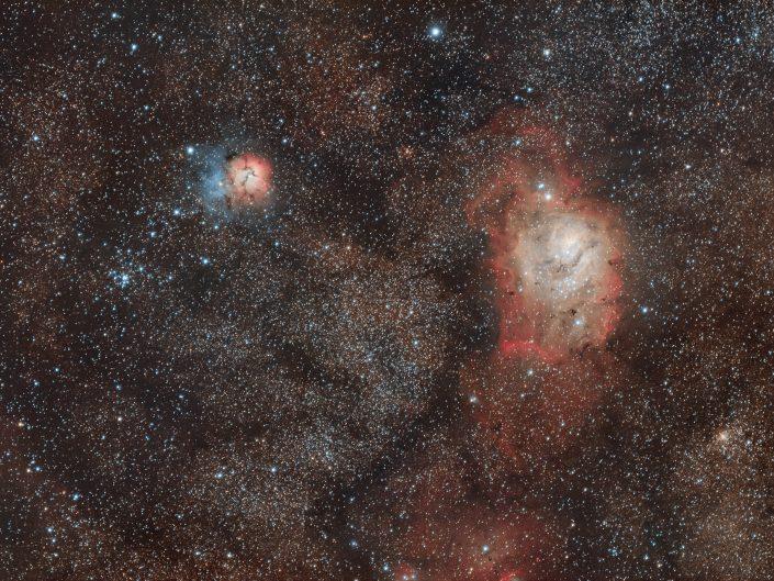 Nebulosa Trifida e Laguna. L'immagine che vedete ha un'integrazione rgb di appena 3 ore, non ho particolarmente spinto nell'elaborazione, né nella saturazione, cercando di lasciare la fotografia più naturale possibile. Rifrattore apocromatico AG70 Tecnosky