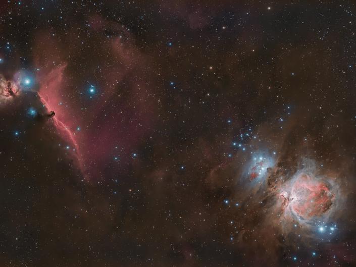 Nebulosa di Orione M42 e Testa di Cavallo IC 434 e Fiamma