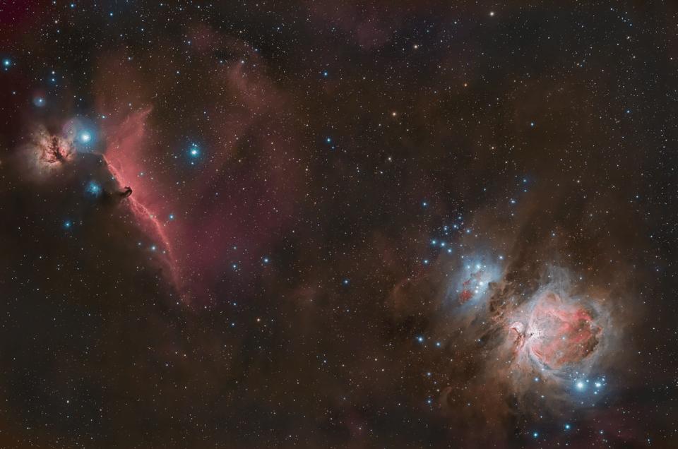 Nebulosa di Orione M42 e Testa di Cavallo IC 434 e Fiamma ZWO ASI 294 MC Pro Recensione Messier 42 La grande nebulosa di Orione