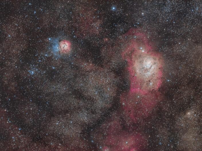 Nebulosa Trifida e Laguna M20, NGC 6514, M8, NGC 6523
