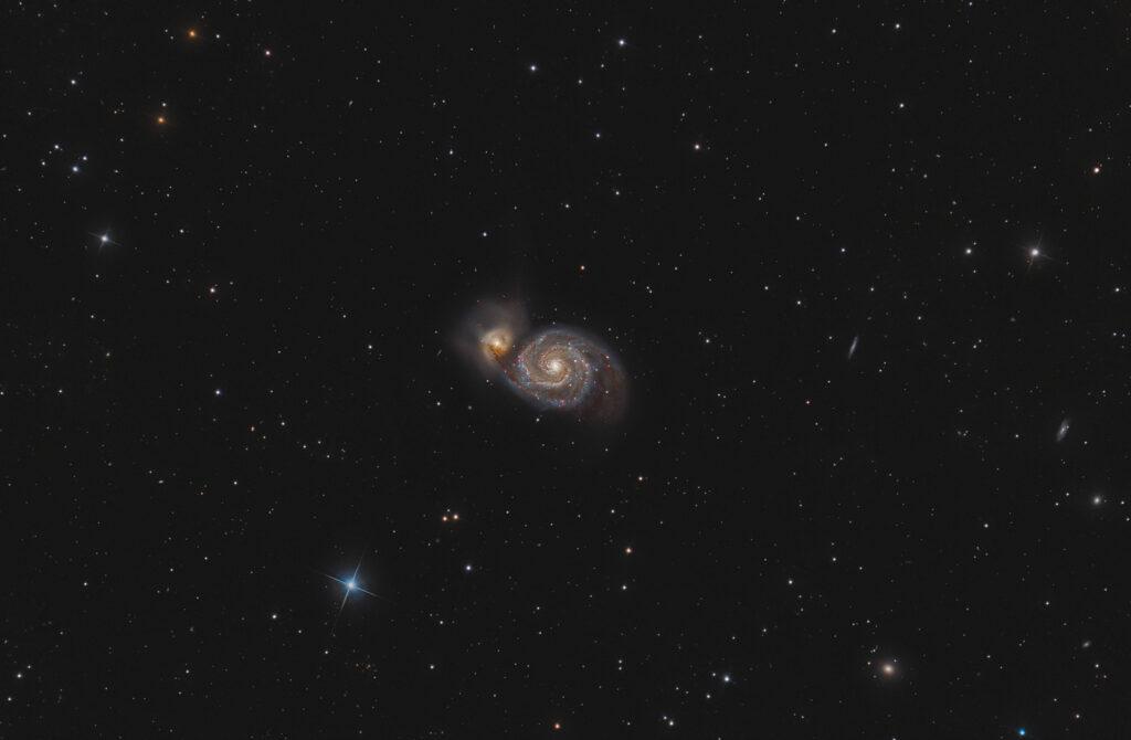 Astrofotografia su M51 la galassia Vortice lucky imaging live stack