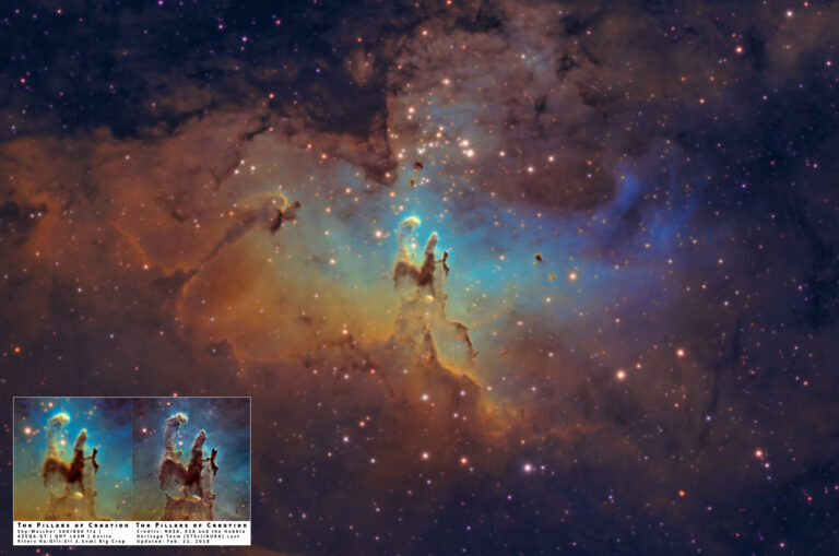 I Pilastri della Creazione in Hubble Palette M 16 pillars of creation nasa SHO narrowband banda stretta m 16 aquila eagle nebula nebulosa