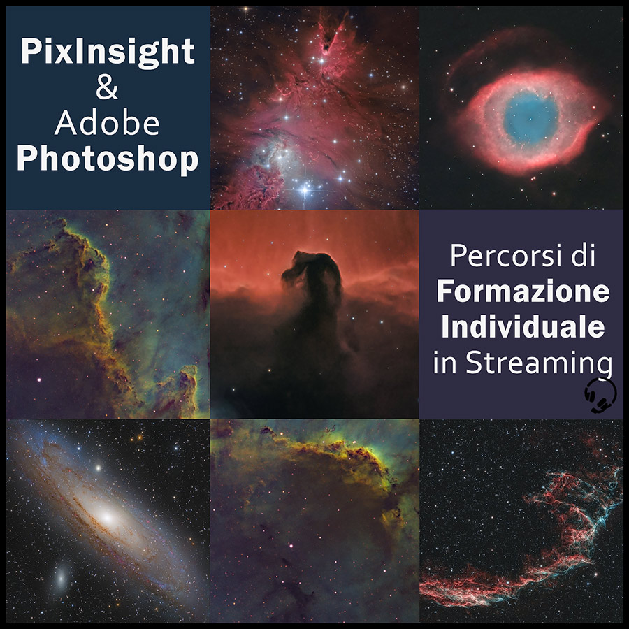Il tuo percorso formativo corso guida tutorial pixinsight astrofotografia Formazione grafica e fotografica mirata post produzione sviluppo stretch