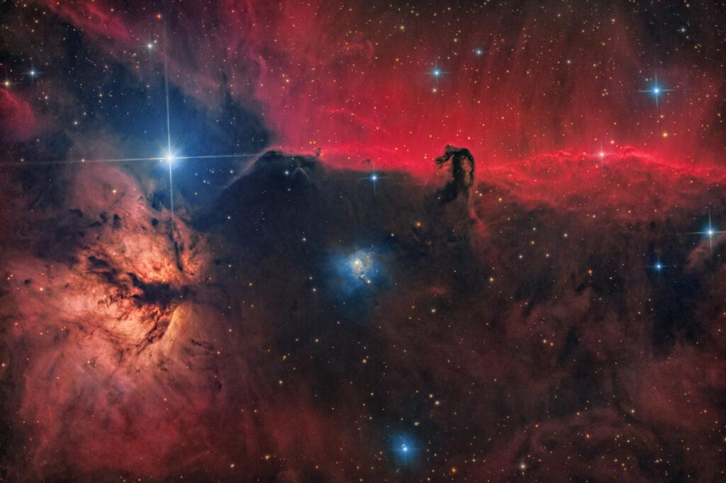 Nebulosa Testa di Cavallo IC 434 IC 435 NGC 2023 NGC 2024 Orion B The star Alnitak ossigeno oiii h-alpha ha hdr Imparare Astrofotografia Fotografare la Nebulosa Testa di Cavallo IC 434