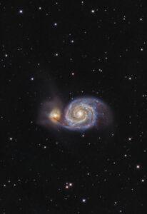Galassia Vortice M51, Whirlpool Galaxy, 120'' L con QHY 268M e Tecnosky RC10 e colore da vecchia ripresa RGB nella costellazione boreale dei Cani da Caccia Astrofotografia su m51 la galassia vortice