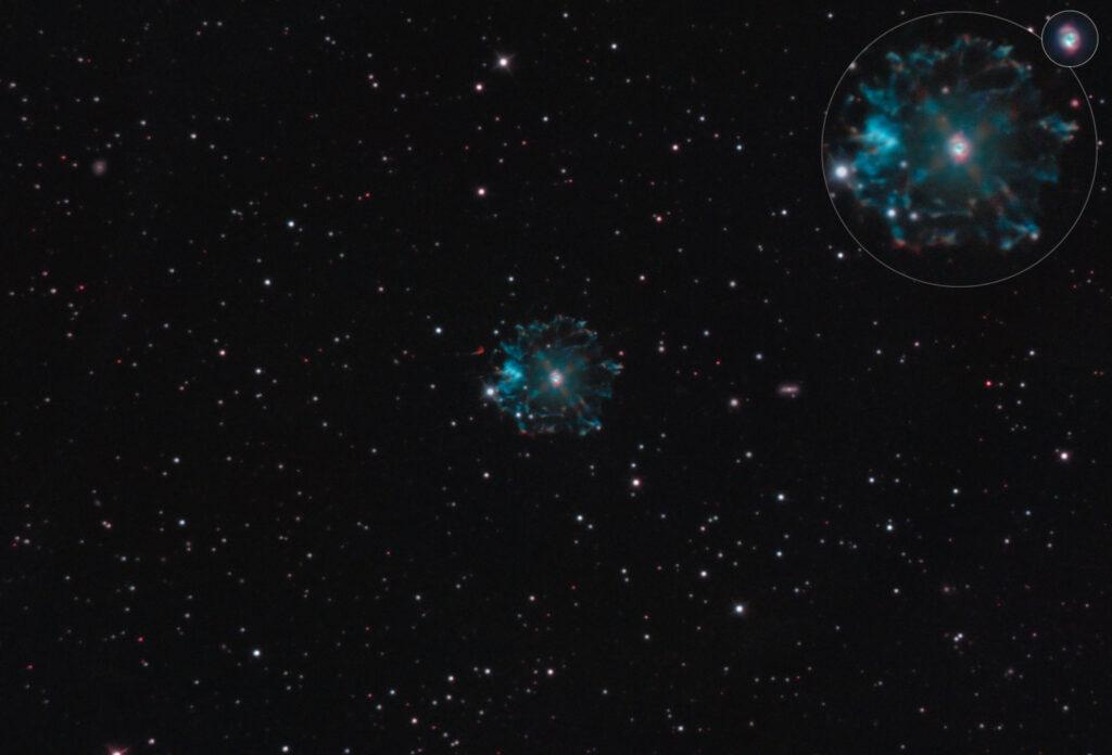 Nebulosa Occhio di Gatto NGC 6543 in HDR in banda stretta - Cat's Eye Nebula con Tecnosky RC10 f/8, ZWO ASI 2400, Optolong L-eNhance, AZEQ6-GT