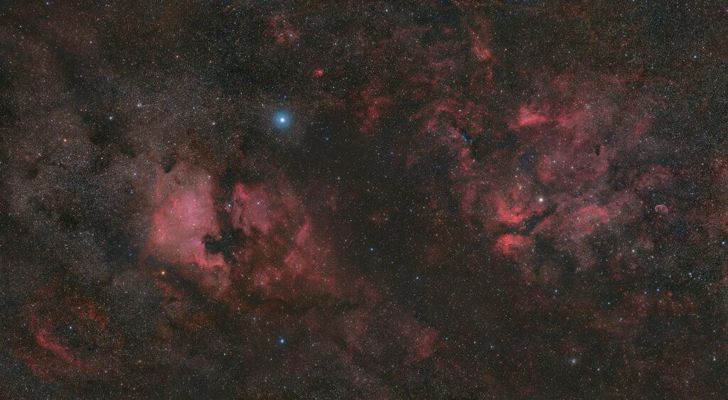 Il Cigno, nebulosa Nord America NGC 7000, Nebulosa Pellicano IC 5070, Nebulosa Crescente NGC 6888, NGC 6914, mosaico con Askar ACL200 APO 50mm F/4.0 e ZWO ASI 2400 MC Pro Astrofotografia a largo campo sul Cigno