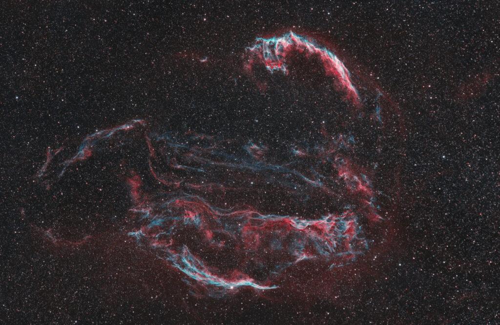 Nebulosa Velo Bicolor Ha 3nm e Oiii 3.5nm Antlia. NGC 6960, 6074, 6079, 6092, 6095 astrofotografia veil supernova remnant banda stretta narrowband intera