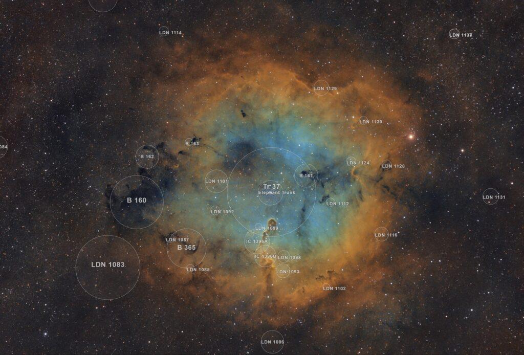 Astrofotografia sulla Nebulosa Proboscide d'Elefante e sull'ammasso TR37