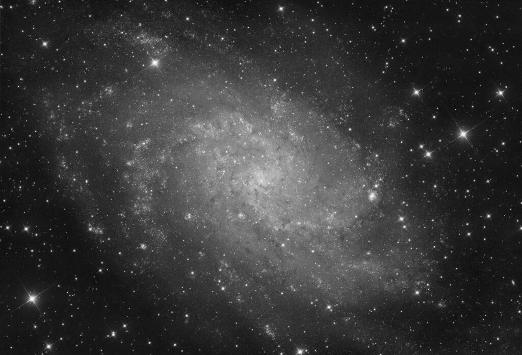 Galassia Triangolo M33 in luminanza (NGC 604, NGC 588, IC 137, NGC 595). Con Sky-Watcher 300/1200 f/4, ZWO ASI 294MM e Optolong L-Pro Astrofotografia sulla galassia Triangolo M33 e le sue nebulose