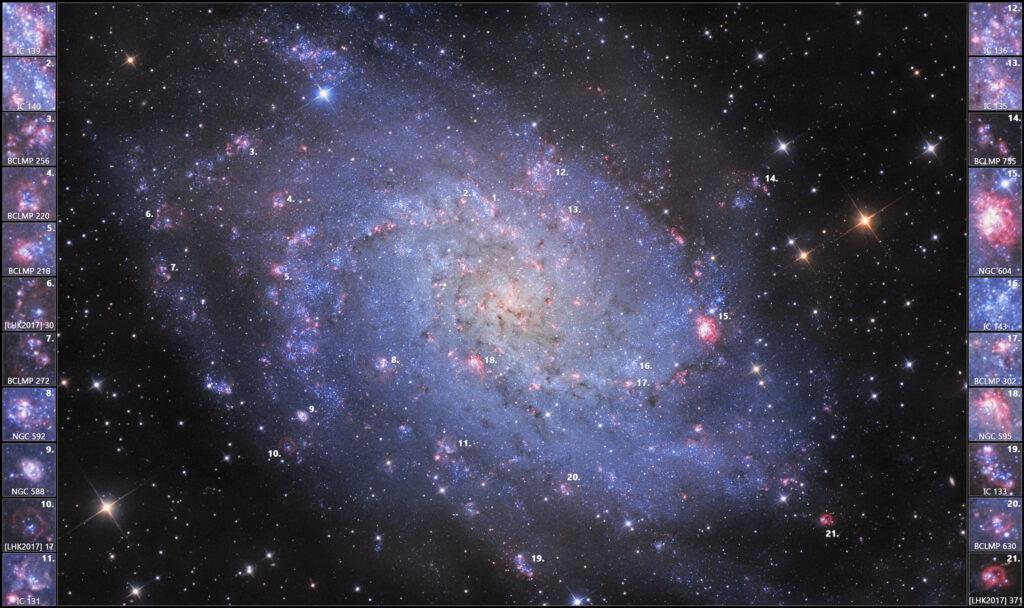 Galassia Triangolo M33 in Ha:OIIILRGB con le sue zone HII tra cui: NGC 604, NGC 588, IC 135, NGC 595, IC 131 e molte altre. Con Sky-Watcher 300/1200 f/4, ZWO ASI 294MM e Optolong L-Pro, R, G e B e filtri Antlia Ha 3nm e OIII 3.5nm